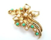 Vintage Brooch Gold Bow Beaded Jewelry Turquoise White