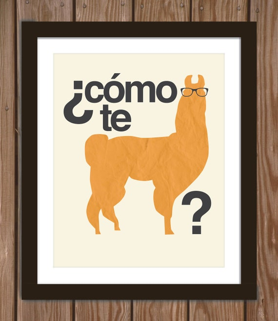Grammatically Correct Hipster Llama Quote Poster Print: Como te llama(s)