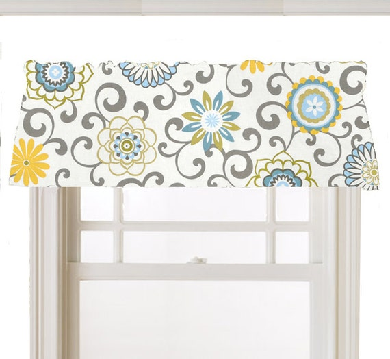 Items Similar To Lined Valance Window Cornice, Mod Flower