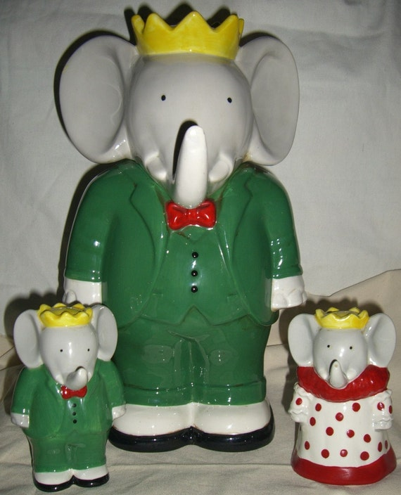 Vintage babar the elephant cookie jar with salt pepper shakers - Vintage elephant cookie jar ...