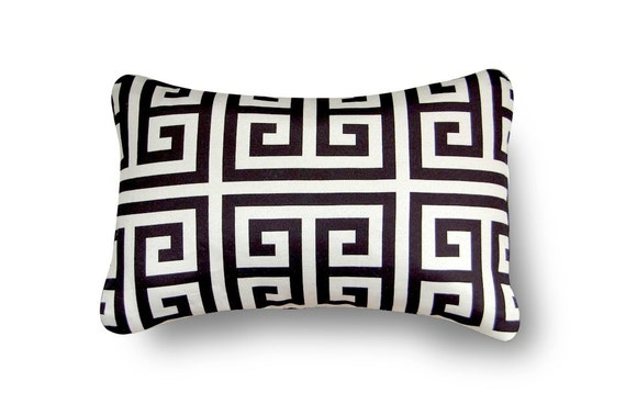 SALE-Greek Key Pillow with pillow insert 12X18 inch