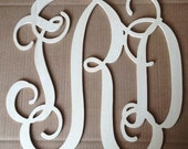 """18"""" Connected Vine wooden monogram wall hanging for weddings, birthdays, family rooms UNPAINTED"""