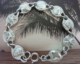 SARAH COVENTRY signed vintage beach theme  silver double sided  bracelet