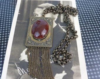 ART DECO CARNELIAN vintage brass and glass flapper antique  necklace