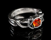 Celtic Orange Sapphire Engagement Ring With Trinity Interweave Knot Design in Sterling SIlver, Made in Your Size CR-405b