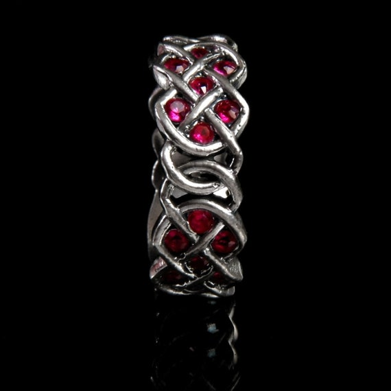 Personalized Ring Size in Celtic Ruby Wedding Ring With Infinity Knot Design in 14K Gold, Handmade Gift CR-769