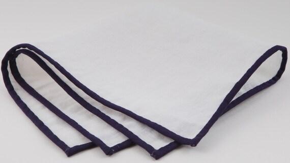 White Linen with Midnight Purple Edge pocket square