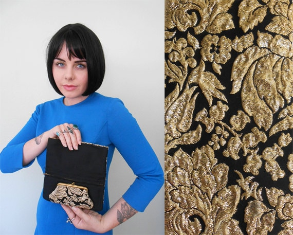 Vintage Wallet/ 1960s/ Black & Gold/ Floral/ Brocade/ Fabric/ Coin Purse/ Pouch/ Clutch