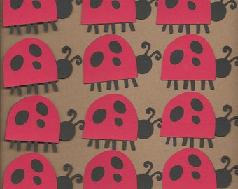 12 2 inch Red and Black Lady Bugs Cricut Die Cuts