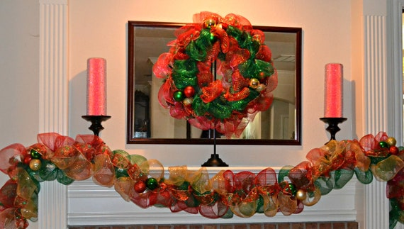 Items similar to deco mesh garland christmas garland for Puertas decoradas de navidad trackid sp 006