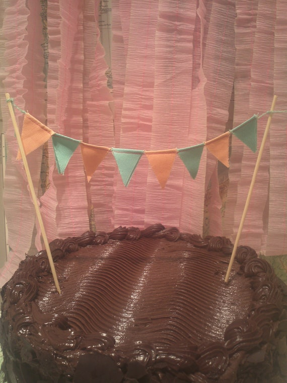 Fabric Cake Bunting in Peach & Mint