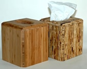 Tissue box cover in either sustainable Bamboo or Kirei (Sorghum Grass)