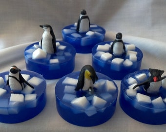 Ice Flow Penguin embedded toy soap bar in White Tea and Ginger scent by Lavish Handcrafted