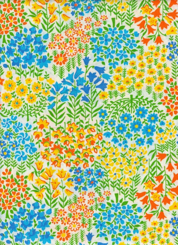 Vintage Floral Cotton Fabric - 1 Yard