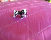 """PORCELAIN SPANIEL DOG tiny, vintage 60's black and white miniature 3/4"""" tall by 1"""" long"""
