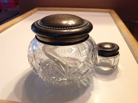 Engraved top vanity jars, glass or crystal and copper or brass. 1920's
