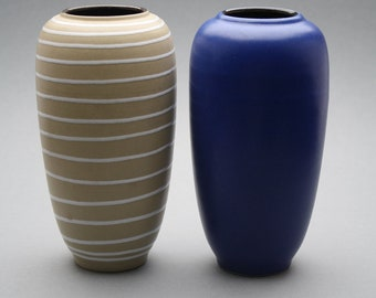 2 Ilkra keramik fat lava vases made in 1959
