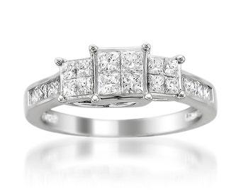 14k White Gold Princess-cut Diamond Invisible-Set Engagement Wedding Ring (1 cttw, H-I, I1-I2)