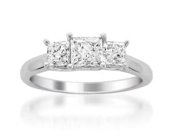 14k White Gold Princess-cut Three-Stone Diamond Engagement Wedding Ring (1 cttw, H-I, SI1-SI2)