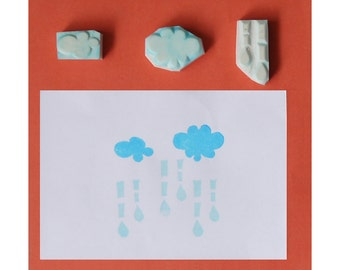Cloud rubber stamps, rain rubber stamp, set of 3 - hand carved rubber stamp, handmade rubber stamp, hand carved stamp, handcarved stamp