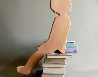 Vintage Wood Little Girl Silhouette