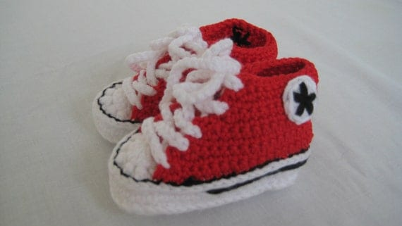 Converse Style Crochet Baby Booties - Red
