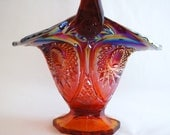 Red Starburst Fenton Carnival Glass Basket