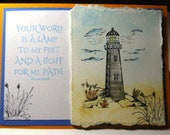 Light house inspirational card watercolor pencil