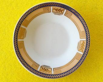 Vintage portuguese blue and golden porcelain decorative saucer
