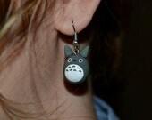 Mini grey totoro earrings