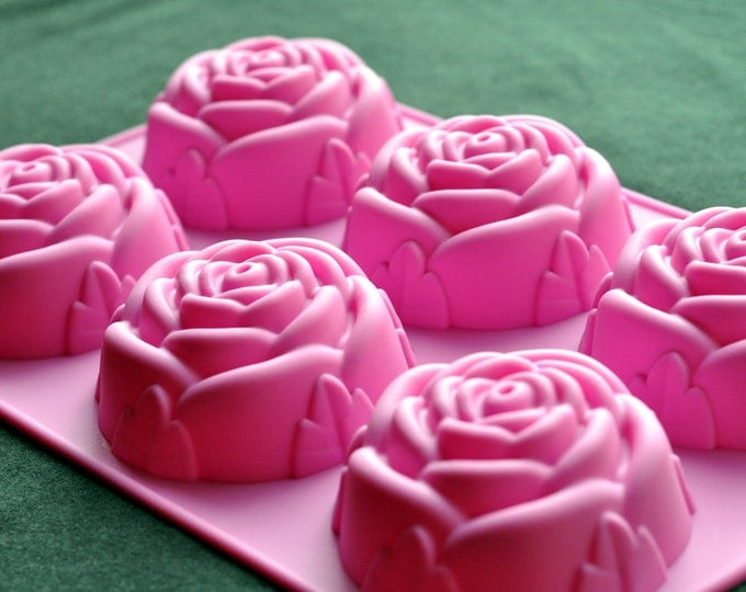 Silicone Silicon Soap Molds Candle Making Molds Chocolate Jelly - 6 Rose Cavity