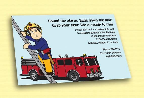 Items similar to Fireman Sam Printable Birthday Invitation ...