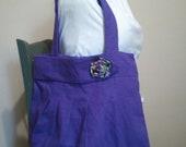 Purple Linen Hip or Shoulder Bag with Rosette