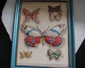 Vintage Fabric Embroidered Butterfly Artwork with Blue Frame