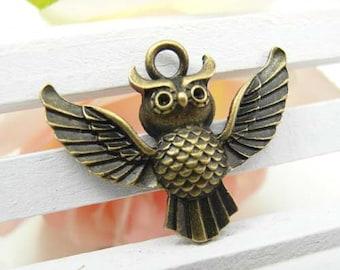 10pcs Vintage Brass Cute Owl Charms Pendants 24x30 mm