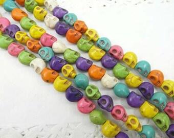 Full Strand Skull Beads, Howlite Skull Beads, Day Of The Dead, Sugar Skulls, Skull Charms 39pcs 10mm Turquoise Beads
