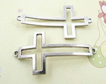 10pcs Cross Charms, Antique Silver Sideways Cross Charm Connector 28x55mm, Curved Cross Charms