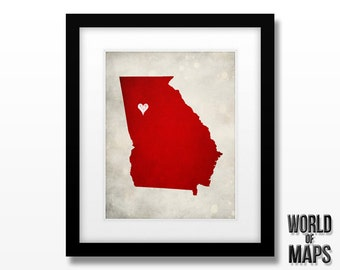 Georgia Map Print - Home Town Love - Personalized Art Print