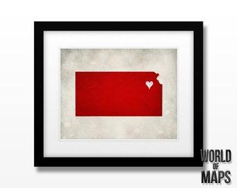 Kansas Map Print - Home Town Love - Personalized Art Print