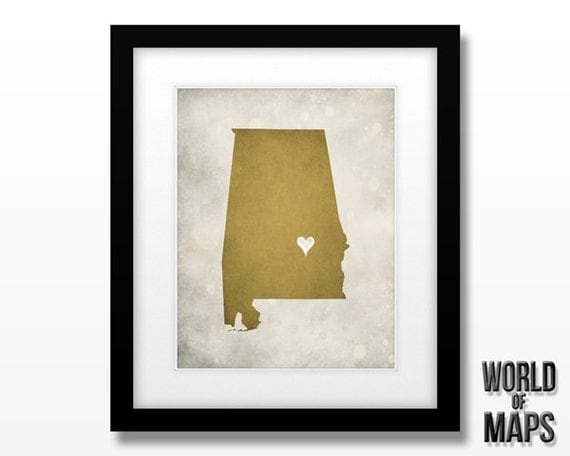 Alabama Map Print - Home Town Love - Personalized Art Print
