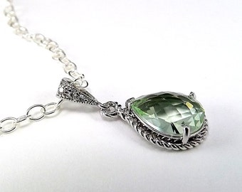 Sterling Silver Necklace Green Chrysolite Glass Pendant