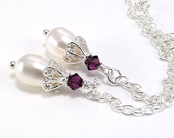 Sterling Silver Necklace - Lariat Style with Teardrop Swarovski Pearl Drops