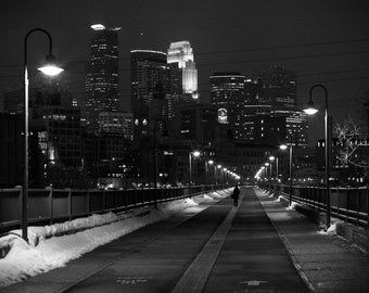 Calm Winter Night - Minneapolis, MN - Minneapolis Skyline Photography