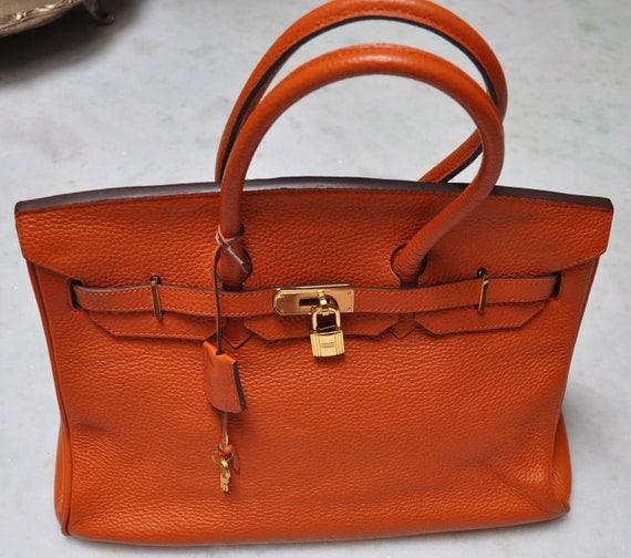 Hemes Birkin 35 style orange handbag