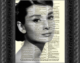 Audrey Hepburn Dictionary Art Print, Wall Decor, Dictionary Page Art, Art Print, Mixed Media, Digital Art, 032