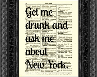 Dictionary Art Print, Ask Me About New York Print, Text Art, Upcycled Dictionary Page, New York Quote