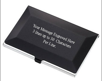 Personalized Black / Silver Business Card Holder - Free Engraving