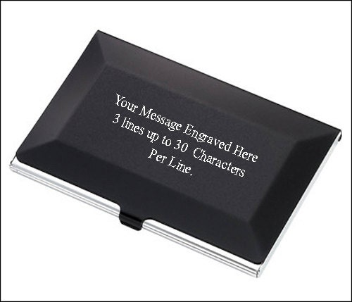 Personalized black silver business card holder free engraving personalized black silver business card holder free engraving reheart Gallery