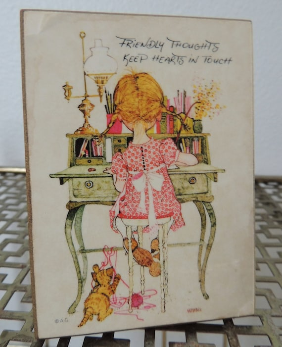 1970s American Greetings Friendly Thoughts Small Wooden Plaque With Stand