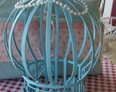 RESERVED For Shannon 15% OFF SALE  Vintage Bird Cage, Upcycled, Aqua, Turquoise, Garden Decor, Wedding, Shabby Chic